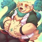 anthro canine clothing cusith dog fur male mammal navel overweight scarf simple_background solo tokyo_afterschool_summoners yellow_furRating: SafeScore: 2User: slyroonDate: March 26, 2017
