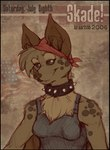 2006 anthro bandanna bat brown_fur brown_hair chest_tuft clothing collar female flag freckles fur hair leaf_nosed_bat liz_carlson mammal portrait shirt skade solo spiked_collar spikes stars_and_stripes tank_top tuft united_states_of_americaRating: SafeScore: 1User: The Dog In Your GuitarDate: May 12, 2007