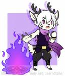 anthro antlers cervine chibi clothed clothing deer dtalvi fire fur hair horn looking_at_viewer magic male mammal open_mouth solo standing