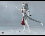 anthro blood female hi_res mammal melee_weapon natalie_(natalie_de_corsair) natalie_de_corsair outside red_eyes sergal snow solo sword weapon