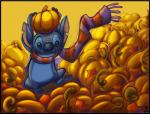 2010 alien autumn black_border black_claws black_eyes blue_fur blue_nose border claws digital_media_(artwork) disney donryu experiment_(species) fall food fruit fur holding_object lilo_and_stitch notched_ear on_one_leg pumpkin pumpkin_patch scarf signature solo standing stitch