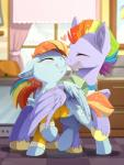 2017 blue_fur bow_hothoof_(mlp) detailed_background duo equine eyes_closed female friendship_is_magic fur hair hioshiru hooves husband_and_wife male mammal multicolored_hair my_little_pony pegasus rainbow_hair smile standing windy_whistles_(mlp) wings