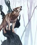ambiguous_gender blackpassion777 branch breath brown_fur canine claws countershading dead_tree detailed_background fangs feral forest fur hi_res howl mammal nature on_branch outside runes solo standing tan_countershading tan_fur tree wolf