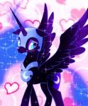 2017 <3 armor blush cosmic_hair cute cutie_mark equine eyelashes eyeshadow feathered_wings feathers female feral friendship_is_magic full-length_portrait helmet horn makeup mammal mascara my_little_pony nightmare_moon_(mlp) nude peregrine pink_background portrait signature simple_background solo sparkles spread_wings teal_eyes winged_unicorn wings