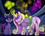 2018 audience blush crown cute cutie_mark dragon dsana equine eyelashes eyes_closed fangs feathered_wings feathers female feral fireworks friendship_is_magic group hair horn hug looking_at_viewer makeup male mammal mascara multicolored_hair my_little_pony night night_sky princess_cadance_(mlp) purple_eyes smile spike_(mlp) stadium twilight_sparkle_(mlp) winged_unicorn wings