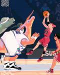 armpits arms_above_head ball basketball basketball_(ball) basketball_court basketball_uniform beak beige_skin black_hair clothed clothing crowd dinosaur female footwear fully_clothed green_scales group hair holding_ball human inside jumping legwear looking_at_another looking_up mammal net open_mouth orange_scales pachycephalosaurus parasaurolophus playing_sport raised_arm scales shoes shorts sleeveless_shirt socks stairs sweatband tan_skin woonyoung