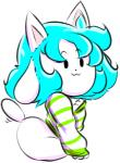 4_ears :3 ambiguous_gender blue_hair bottomless butt clothed clothing flyxthunder fur hair long_ears looking_at_viewer mammal multi_ear simple_background sitting solo striped_clothing stripes sweater tem temmie_(undertale) undertale video_games white_background white_fur wide_hipsRating: SafeScore: 6User: Toot_ThunderThighsDate: December 08, 2017