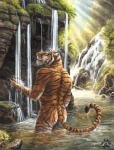anthro bathing biceps biped black_fur blotch butt casual_nudity detailed_background ears_back eyes_closed feline forest fur male mammal markings muscular nature nude orange_fur outside partially_submerged pink_nose pose rear_view river rock shower sky solo standing stripes tiger traditional_media_(artwork) tree water watercolor_(artwork) waterfall wet whiskers white_furRating: SafeScore: 54User: BasedDookDate: March 07, 2013