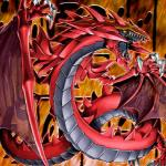 ambiguous_gender claws dragon fangs feral konami official_art red_scales reptile scales scalie sharp_teeth solo teeth unknown_artist uria_lord_of_searing_flames yellow_eyes yu-gi-oh