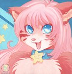 2007 :3 anthro blue_eyes canine cat chest_tuft collar cute feline female fox fur hair kacey looking_at_viewer mammal open_mouth pink_fur pink_hair simple_background smile solo star tuft