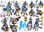 anthro armor avian beak bird blue_feathers braided_hair breath_of_the_wild clothed clothing feathers green_eyes group hair half-closed_eyes hands_behind_back hi_res japanese_text looking_at_viewer male model_sheet multiple_poses ningukt nintendo nude open_mouth pose revali rito scarf side_view text the_legend_of_zelda topless translation_request video_gamesRating: SafeScore: 18User: e17enDate: April 21, 2017