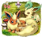 ambiguous_gender black_nose canine dipstick_ears dipstick_tail eevee eeveelution feral flabébé flareon foongus grass group joltik leafeon mammal morelull multicolored_tail nintendo pokemoa pokémon pokémon_(species) shroomish video_games