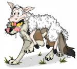 2016 brookibrooki canine caprine carrying disguise duo feral licking licking_lips mammal on_top on_top_of pelt piggyback sheep sheepskin spark_(character) tongue tongue_out wolfRating: SafeScore: 7User: BloodyBeastDate: April 28, 2017