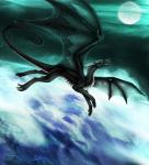 black_scales claws dragon feral flying hi_res horn moon open_mouth orange_eyes scales selianth sky solo star starry_sky teethRating: SafeScore: 3User: MillcoreDate: March 31, 2017
