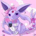 arms_above_head bandage bandaged_arm bow eeveelution espeon female full_body nintendo pills pink_background pink_bow pink_ribbon pokémon pokémon_(species) purple_eyes ribbons simple_background sitting solo star syringe tears unknown_artist video_games