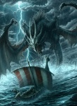 amazing ambiguous_gender boat claws cloud detailed_background dragon feral flying group horn kerem_beyit kerembeyit lightning membranous_wings outside overcast raining scalie sea ship size_difference sky solo_focus storm vehicle viking water wave wings