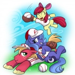 apple_bloom_(mlp) ball baseball_(ball) baseball_(sport) baseball_cap baseball_uniform big_macintosh_(mlp) blue_feathers brother clothing cub cutie_mark earth_pony equine feathered_wings feathers female feral friendship_is_magic group hat holding_ball horn horse madmax male mammal my_little_pony playing_baseball pony princess_luna_(mlp) sibling sister sport uniform winged_unicorn wings young