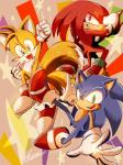 anthro canine clothing echidna fox group hedgehog knuckles_the_echidna male mammal miles_prower monotreme okami_(artist) sonic_(series) sonic_the_hedgehog video_games