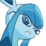 ambiguous_gender blue_eyes eeveelution eyewear glaceon glasses nintendo pokémon pokémon_(species) simple_background solo video_games white_background 霧東_涼