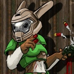 anthro armor blood crossover doom double_barreled_shotgun female fur gun helmet lagomorph mammal oniontrain rabbit ranged_weapon ruby_(rq) ruby_quest shell_casing shotgun shotgun_shell smoke solo space_marine video_games weapon