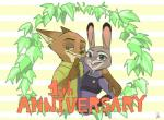 2017 anthro canine clothed clothing comic dipstick_ears disney female fox fur gloves_(marking) inner_ear_fluff judy_hopps lagomorph looking_at_viewer male mammal markings necktie nick_wilde open_mouth open_smile police_uniform rabbit shio_mikann shirt simple_background smile text uniform wreath zootopia