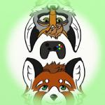 brown_hair canine controller cross_fox curly_(invader-yan) duo fox green_eyes hair invader-yan low_res male male/male mammal red_panda simple_background yan_(invader-yan)