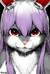 alternate_species anthro bangs black_background buckteeth bust_portrait cheek_tuft chest_tuft countershade_face countershade_torso countershading digital_media_(artwork) female front_view fur furrification grey_fur hair hair_between_eyes hi_res kemono lagomorph long_ears long_hair looking_at_viewer mammal mouth_closed multicolored_fur nude outline pink_nose portrait purple_hair rabbit red_eyes reisen_udongein_inaba signature simple_background solo teeth touhou tuft two_tone_fur white_countershading white_fur yukaran_nosukeRating: SafeScore: 8User: SchuppoDate: June 22, 2017