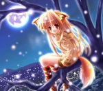 animal_humanoid beige_skin blonde_hair boots branch canine city cityscape clothed clothing dipstick_tail female footwear fox fox_humanoid fur hair hoodie humanoid inner_ear_fluff legwear long_hair looking_aside looking_at_viewer mammal moon multicolored_tail night on_branch open_mouth orange_fur outside red_eyes side_view sky socks solo tree unknown_artist white_fur wood