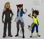 anthro armor canine clothed clothing diadorin feline female fur group hair looking_at_viewer magic male mammal smile standing