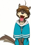 ^_^ animated anthro canine clothing cute eyes_closed happy low_res male mammal morenatsu official_art open_mouth open_smile shirt shun_(morenatsu) simple_background smile solo tailwag unknown_artist white_background wolf