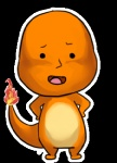 alpha_channel ambiguous_gender charmander chibi edit fire flaming_tail full-length_portrait humor looking_at_viewer low_res nintendo orange_skin pokémon pokémon_(species) portrait simple_background solo transparent_background unknown_artist video_games