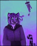 amara_telgemeier anthro feline female glowing glowing_eyes gradient_background looking_at_viewer mammal purple_theme simple_background solo standing stripes tiger wind wind_chimes