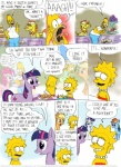 applejack_(mlp) bart_simpson blue_feathers blue_fur comic crossover cutie_mark dialogue earth_pony english_text equine feathered_wings feathers female feral fluttershy_(mlp) friendship_is_magic fur group hair homer_simpson horn horse lisa_simpson male mammal multicolored_hair my_little_pony open_mouth pegasus pink_fur pinkie_pie_(mlp) pony purple_eyes purple_fur purple_hair rainbow_dash_(mlp) rarity_(mlp) text the_simpsons timothy_fay twilight_sparkle_(mlp) two_tone_hair unicorn wings yellow_body