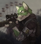 5_fingers aiming anthro backpack black_nose camo canine chernobyl clothing detailed_background eyebrows fingerless_gloves fur gloves green_eyes green_fur gun holding_object holding_weapon koul male mammal monolith_(faction) one_eye_closed ranged_weapon respirator s.t.a.l.k.e.r. smile solo teeth trigger_discipline video_games weapon white_fur wolf