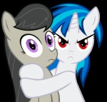 alpha_channel black_hair blue_hair digital_media_(artwork) duo earth_pony equine female feral friendship_is_magic hair half-length_portrait horn horse hug kirotalon looking_at_viewer low_res mammal my_little_pony octavia_(mlp) pony portrait possessive purple_eyes red_eyes simple_background transparent_background unicorn vinyl_scratch_(mlp)
