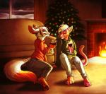 aerosocks alcohol anthro beverage canine cat christmas christmas_tree clementine clothed clothing duo ear_piercing eyes_closed feline female female/female fireplace fox fur hair holding_object holidays inside interspecies love mammal pawpads paws piercing rashia romantic_couple sitting smile spots tree whiskers wine wine_glassRating: SafeScore: 5User: frizzyDate: July 26, 2017