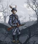 2018 anthro armor clothed clothing digital_media_(artwork) french fur gun hair helmet historical holding_object holding_weapon lagomorph laudanumserum letho_(laudanumserum) male mammal military outside rabbit ranged_weapon simple_background sky soldier solo standing tree uniform war weapon world_war_1Rating: SafeScore: 2User: LaudanumSerumDate: January 28, 2018