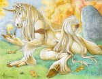 acorn anthro armband blue_eyes braided_hair detailed_background equine forest fur grass hair hooves horn kyoht_luterman leaf male mammal nude nut outside sky solo tail_ring tree unicorn white_fur white_hair wood
