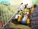 2014 anthro box brother brothers building canine child city cloud cub cute dangerous eyewear feline fox game_(disambiguation) goggles hand_up happy kory_cooper landscape male mammal pandapaco playing scared sibling stairs stones tiger tree young zeke_cooperRating: SafeScore: 15User: GumballArtDate: February 12, 2018