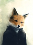 ambiguous_gender anthro canine clothing fox jacket mammal photorealism solo traditional_media_(artwork) unknown_artist watercolor_(artwork)