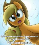 applejack_(mlp) blonde_hair cloud cowboy_hat day earth_pony english_text equine female feral freckles friendship_is_magic ghosthavocstallion green_eyes hair hat horse long_hair looking_at_viewer mammal my_little_pony open_mouth orange_body pony sky solo sun text