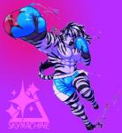 abs anthro boxing_gloves clothed clothing equine hi_res jewelry looking_at_viewer male mammal muscular necklace skymachine solo zebra