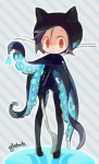 abstract_background ambiguous_gender amiami black_hair cat feline fork github hair humanoid looking_at_viewer mammal not_furry octocat red_eyes simple_background smile solo standingRating: SafeScore: 6User: tenggerDate: March 23, 2015