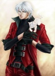 2009 belt blue_eyes capcom cat clothed clothing coat cub dante_(dmc) devil_may_cry duo feline feral front_view fur gloves grey_hair hair human human_focus leather male mammal sandersonia standing video_games white_fur white_hair young