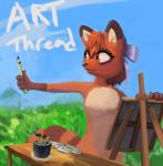 /fur/ 8chan anonymous_artist anthro armpits artist breasts countershading creating_art featureless_breasts female hair hair_bow hair_ribbon kate_(8chan) mammal nude outside painting raccoon ribbons solo standing striped_tail stripes
