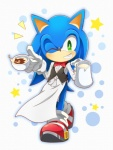 5_fingers abstract_background anthro apron beige_skin beverage big_eyes big_head blue_fur blue_hair bow_tie cappuccino_(coffee) cel_shading clothed clothing coffee cup dress_shirt footwear front_view fur gloves hair hedgehog holding_cup jug legwear male mammal neru one_eye_closed outline shirt shoes smile socks solo sonic_(series) sonic_the_hedgehog standing star tea_cup teeth toony video_games waistcoat wink