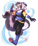 2_heads anthro arcturus barefoot blue_eyes blue_hair breasts clothing collar conjoined dancing digital_media_(artwork) fauxhawk female fingerless_gloves fur gloves hair headphones hi_res hybrid jacket mammal multi_head open_mouth red_panda skunk skunktail solo teeth two-tone wristband yobotRating: SafeScore: 1User: ArcturusDate: April 28, 2017