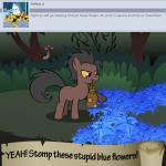 bitterplaguerat bush earth_pony equine feral forest horse loki_(bitterplaguerat) mammal mushroom my_little_pony pony solo text treeRating: SafeScore: -3User: Aryanne_HooflerDate: April 25, 2017