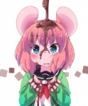 5_fingers anthro blue_eyes blush bust_portrait candy cardigan chocolate chocolate_drip clothed clothing female food front_view fur hair looking_at_viewer mammal messy mouse open_mouth pink_fur pink_hair pink_skin portrait rodent school_uniform serafuku shirt short_hair simple_background solo toony uniform white_background youki