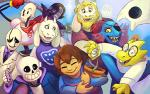 2016 alphys amalgamate ambiguous_gender animated_skeleton anthro asgore_dreemurr blonde_hair bone boss_monster caprine clothed clothing colored endogeny eye_patch eyes_closed eyewear facial_hair female fish flora_fauna flower flower_pot flowey_the_flower fur gaster ghost glasses goat group hair horn human humanoid lab_coat lizard long_ears lynxgriffin machine male mammal marine mettaton_ex napstablook papyrus_(undertale) plant protagonist_(undertale) reptile robe robot sans_(undertale) scalie skeleton smile spirit toriel undead undertale undyne video_games white_fur